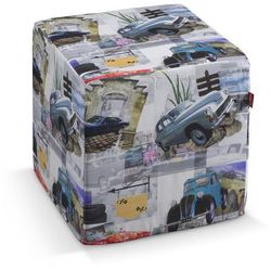Dekoria  pokrowiec na pufę kostke, samochody retro, kostka 40x40x40 cm, freestyle