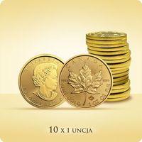 Kanadyjski liść klonowy 1 uncja złota x 10 marki Royal canadian mint