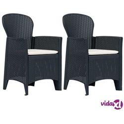 Vidaxl krzesła ogrodowe z poduszkami, 2 szt., antracytowe, plastikowe (8719883552576)