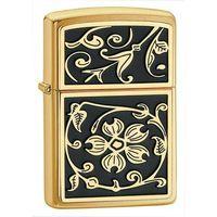 Zapalniczka  gold floral flush emblem, brushed brass marki Zippo