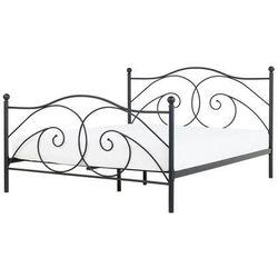 Łóżko czarne 180 x 200 cm metalowe ze stelażem DINARD, kolor czarny