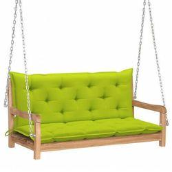 Drewniana huśtawka z jasnozieloną poduszką - paloma 2x marki Elior