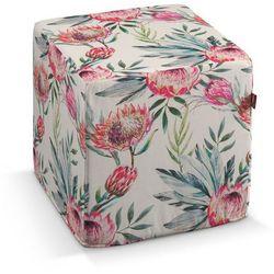 pufa kostka, różowe kwiaty na kremowym tle, 40 × 40 × 40 cm, new art marki Dekoria