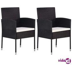 vidaXL Krzesła ogrodowe, 2 szt., polirattan, czarne (8718475601623)