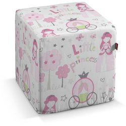 pufa kostka, różowo-szare wzory na białym tle, 40 × 40 × 40 cm, little world marki Dekoria