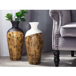 Beliani Wazon dekoracyjny biały/jasne drewno bona (4251682202770)