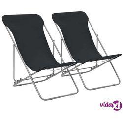 vidaXL Składane krzesła plażowe, 2 szt., stal i tkanina Oxford, czarne (8718475703730)
