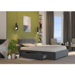 Big meble Łóżko 160x200 tapicerowane arezzo + 2 szuflady welur ciemno szare