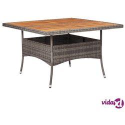 Vidaxl stół ogrodowy, szary, polirattan i lite drewno akacjowe