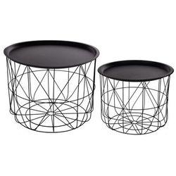 Zestaw metalowych stolików kawowych, okrągłych, ze schowkiem - w nowoczesnym stylu (3560234477711)
