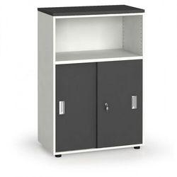 B2b partner Szafa biurowa kombinowana, przesuwne drzwi, 1087x800x420 mm, biały/grafitowy