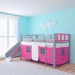 Vidaxl łóżko piętrowe ze zjeżdżalnią, stalowe, różowe, 200x100 cm (8718475937364)