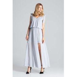 Figl Szara warstwowa maxi sukienka wiązana na ramionach