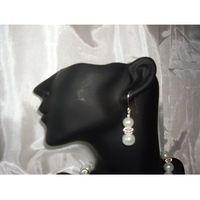K-00004 Kolczyki z perełek szklanych białych, 14-03-11