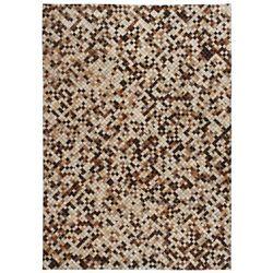 Patchworkowy dywan ze skóry bydlęcej, 120x170 cm, brązowo-biały