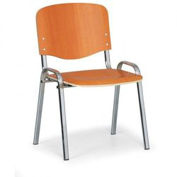 Drewniane krzesło ISO, czereśnia, kolor konstrucji chrom, nośność 120 kg