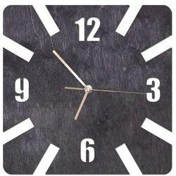 Drewniany zegar na ścianę Kwadratowy ze złotymi wskazówkami, kolor czarny