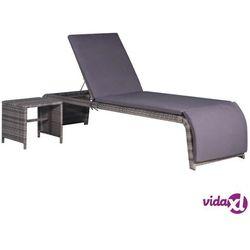 leżak i stolik, polirattan, szary marki Vidaxl