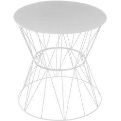Atmosphera créateur d'intérieur Okrągły stolik kawowy na metalowych nogach, stolik do kawy, stolik do salonu, stolik do pokoju, biały stolik, stolik metalowy (3560234477674)