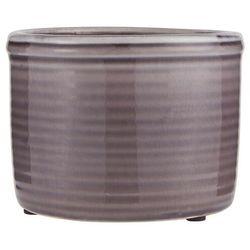 Ib Laursen - Doniczka ceramiczna szkliwiona fioletowa niska
