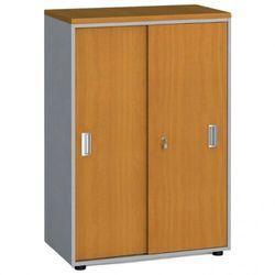B2b partner Szafa biurowa przesuwne drzwi, 1087 x 800 x 420 mm, czereśnia