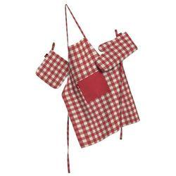 Dekoria Komplet kuchenny fartuch,rękawica i łapacz, czerwono biała kratka (1,5x1,5cm), kpl, Quadro - produkt z kategorii- Fartuchy kuchenne