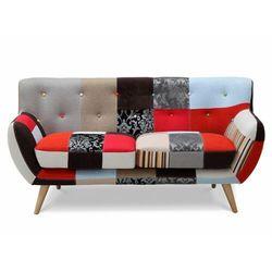 Sofa 2-osobowa SERTI - Tkanina patchworkowa w odcieniach czerwieni/czerni, kolor czerwony