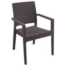 Krzesło z podłokietnikami do restauracji ogrodowy z technorattanu Ibiza Siesta brązowy