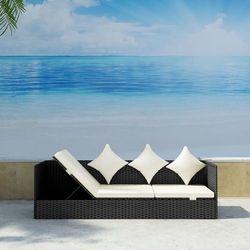Leżanka z poduszkami do ogrodu, polirattan, czarna
