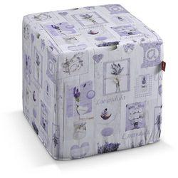 Dekoria Pufa kostka twarda, lawendowe wzory na jasnym tle, 40x40x40 cm, Ashley, kolor fioletowy