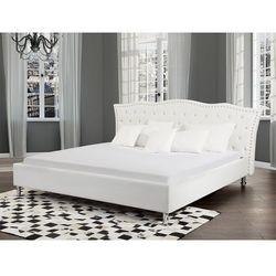 Beliani Łóżko białe - 160x200 cm - łóżko skórzane ze stelażem - metz