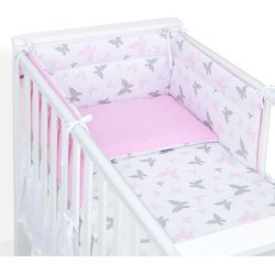 ochraniacz do łóżeczka 70x140 motylki różowe / aplikacja róż marki Mamo-tato