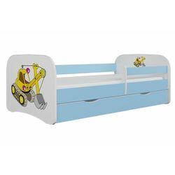 Łóżko dla dziecka, barierka, babydreams, koparka, niebieskie