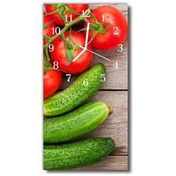 Zegar szklany pionowy kuchnia warzywo ogórek pomidor marki Tulup.pl