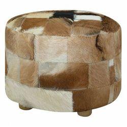 Okrągła pufa skórzana do salonu - gota marki Elior
