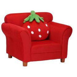 Fotel dziecięcy z tkaniny fraisier z poduszką - czerwony marki Vente-unique