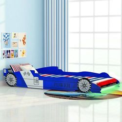 vidaXL Łóżko dziecięce w kształcie samochodu, 90 x 200 cm, niebieskie