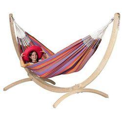 Zestaw hamakowy: hamak dwuosobowy carolin0a ze stojakiem canoa, czerwony cah16cns161 marki La siesta
