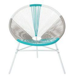 Beliani zestaw 2 krzeseł rattanowych biało-beżowo-turkusowe acapulco (4260624113661)