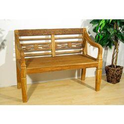 Ogrodowa ławka DIVERO z drewna tekowego dla 2 osób w stylu retro