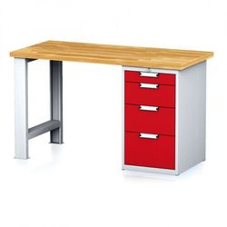 B2b partner Stół warsztatowy mechanic, 1500x700x880 mm, 1x szufladowy kontener, 4 szuflady, szary/czerwony