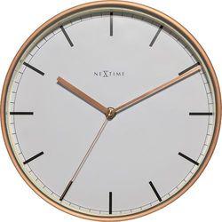 Zegar ścienny Nextime Company index, biały, miedziany, kolor biały