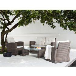 Meble ogrodowe - rattanowe - tarasowe - stół + sofa + 2 fotele - luca marki Beliani