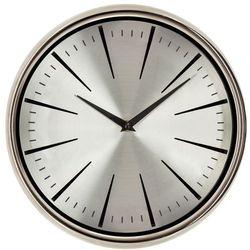 Zegar wiszący, srebrny korpus, srebrna tarcza, metalowy, zegar na ścianę, dekoracyjny, nowoczesny styl, zegar ze wskazówkami marki Atmosphera créateur d'intérieur