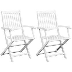Vidaxl składane krzesła 2 szt. białe drewno akacjowe