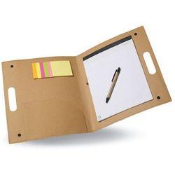 Teczka konferencyjna ALBERTA z kartonu z recyklingu, z samoprzylepnymi karteczkami w 2 kolorach , ()