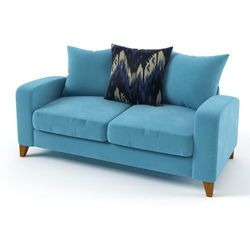 Sati sofa 2 osobowa na nóżkach bez funkcji spania z gładkimi poduszkami marki Meblo dom