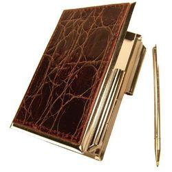 ETUI NA WIZYTÓWKI OSOBISTE KW-38K - metalowe z notesikiem i długopisem wykończone skóra naturalną o faktu