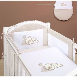MAMO-TATO pościel 3-el Śpiący miś brąz z białym do łóżeczka 70x140cm z kategorii komplety pościeli dla dzieci