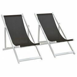 Składane leżaki plażowe Strand - czarne, vidaxl_44348